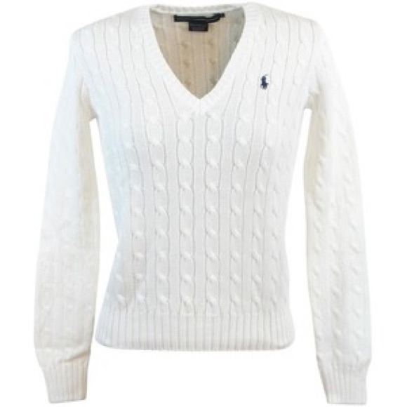 4376f395fe Ralph Lauren Womens V-Neck Cable Knit Sweater. M 5a6a118dd39ca2d244ba490f